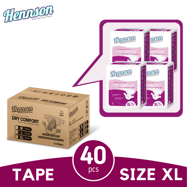 (E-Fair) Hennson Dry Comfort Adult Diapers Xl 10s x4