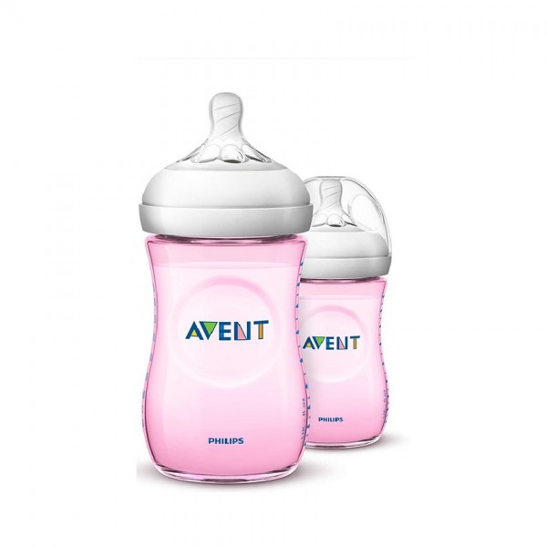Avent Natural Bottle Pink 260Ml X2 (Scf694/23)