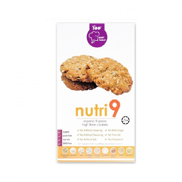 Nhf Nutri 9 Organic 9 Grains High Fibre Cookies 240G (8 X 2Pcs)