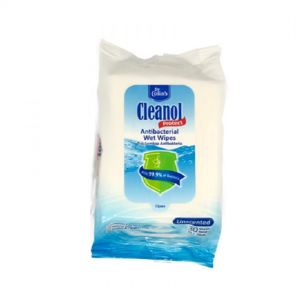 Cleanol Antibacterial Wipes Wet 30S Unscented