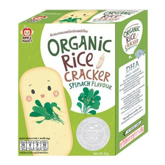 APPLE MONKEY ORGANIC RICE CRACKER SPINACH FLAVOUR 30G