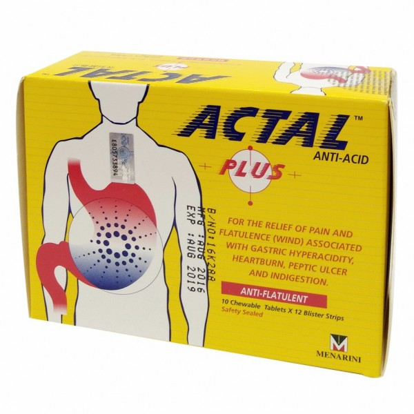 Actal Plus Antacid 10 chewable tablets x 12 blister strips