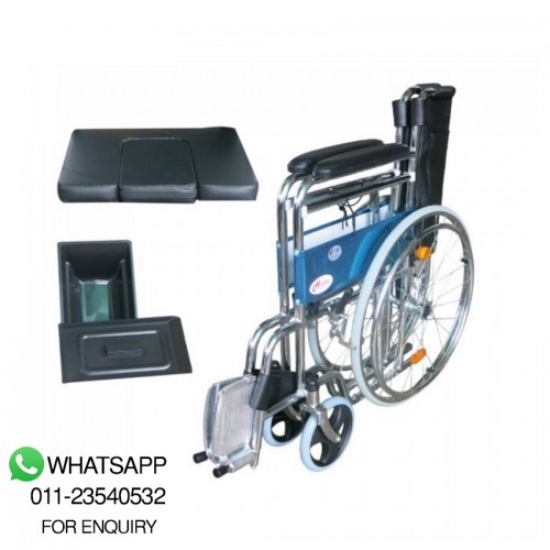 Greencity chrome steel commode wheelchair (CM683)
