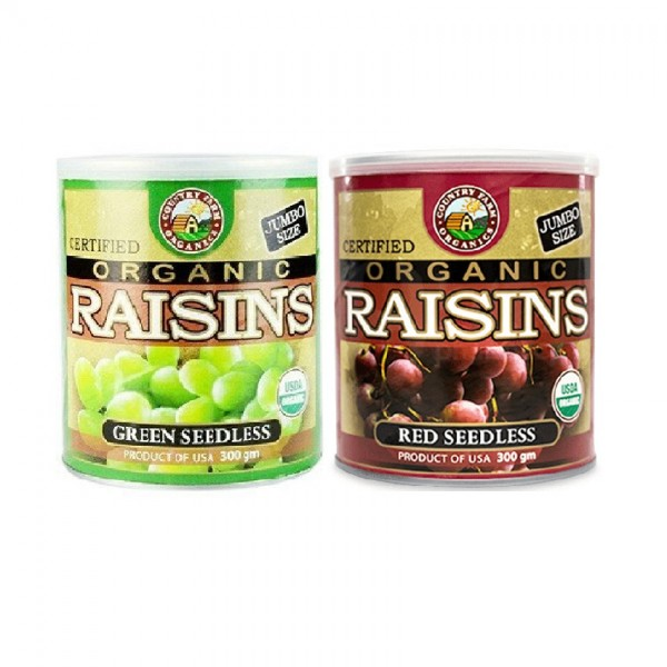 COUNTRY FARM ORGANIC RAISINS -RED SEEDLESS AND GREEN SEEDLESS (PROMO PACK) 2X300GM
