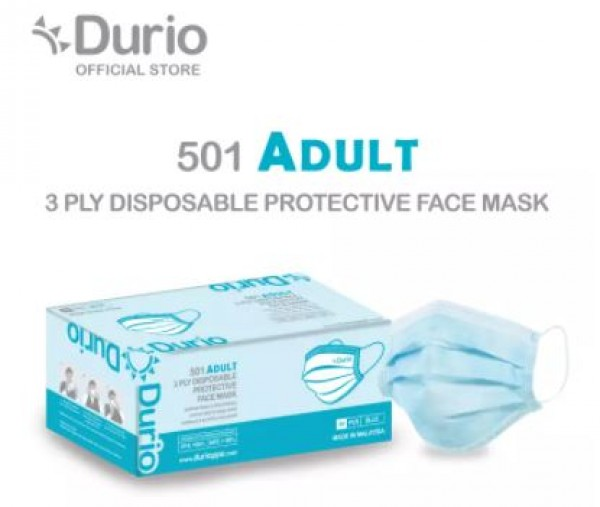 DURIO 3 Ply Disposable Protective (Adult-Ear Loop/ Blue) Face Mask 50S