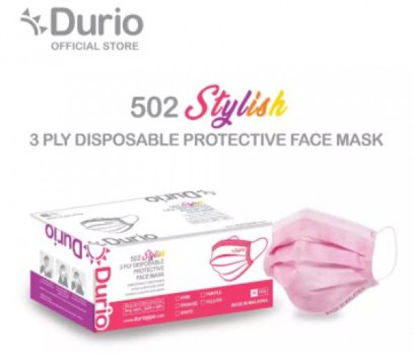 Durio 3 Ply Disposable Protective (Adult-Ear Loop/Pink) Face Mask 50s