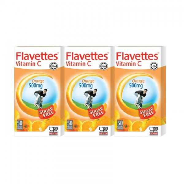 Flavettes Sugar Free Chewable Vitamin C - Orange (500mg x 50s x 3)