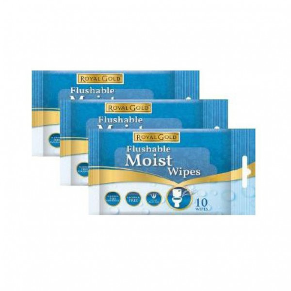 Royal Gold Flushable Moist Wipes 3 X 10S