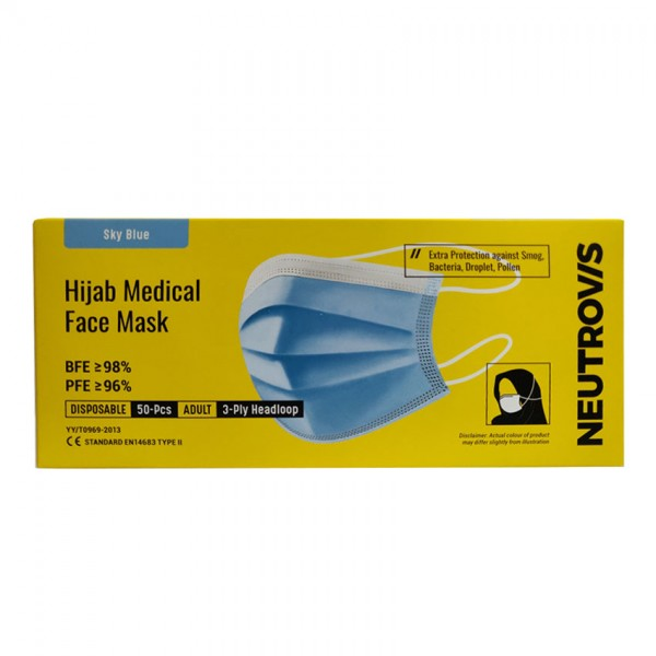 Neutrovis 3 Ply Hijab Medical Face Mask (Blue) 50S