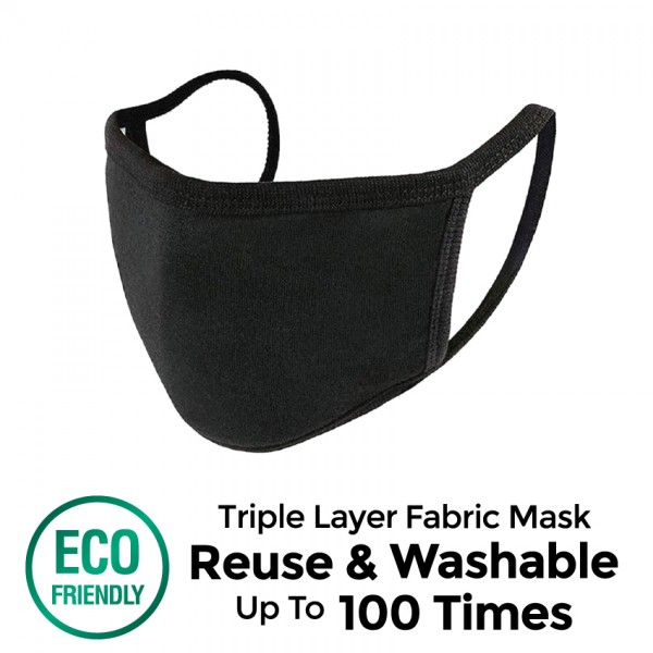 Offen 3 Ply Reusable Fabric Mask (Black - L Size) 1S