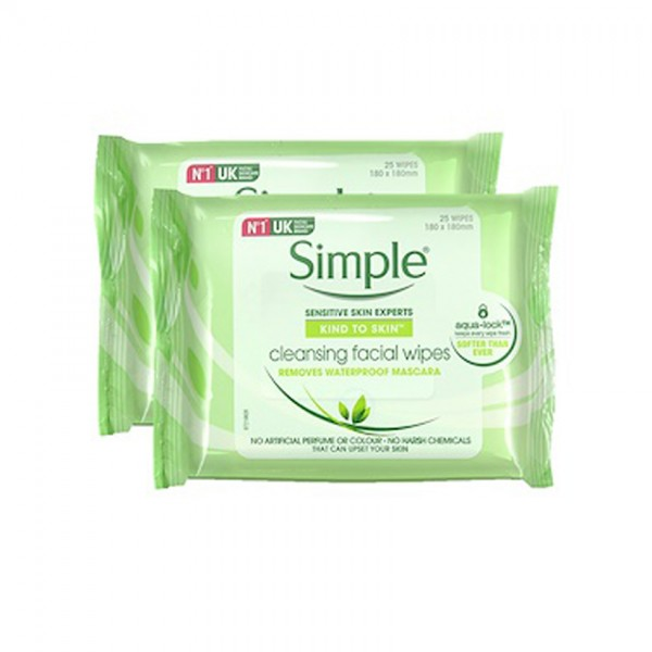 Simple Cleansing Facial Wipes 25S X 2