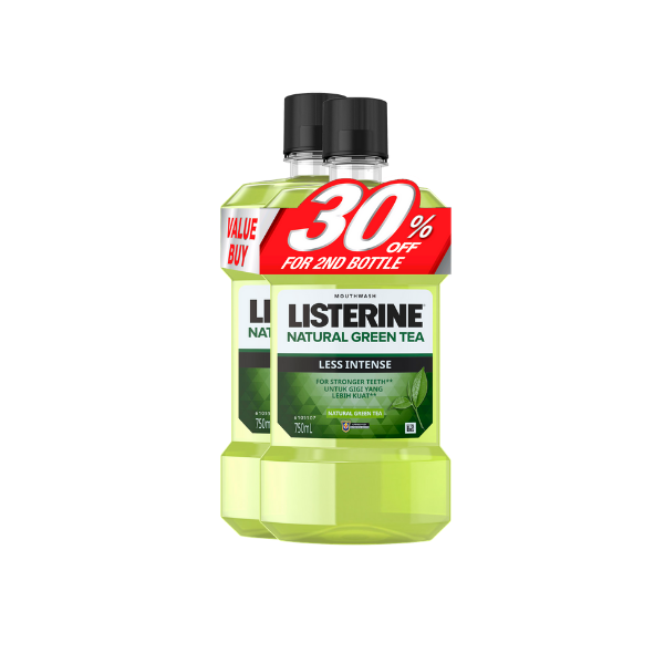 Listerine Natural Green Tea Less Intense 750ML X 2