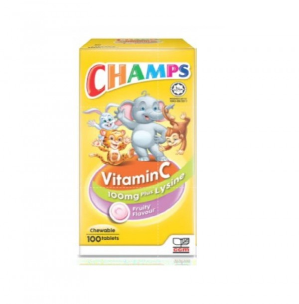 Champs Chewable Vitamin C with Lysine Fruiti 100S