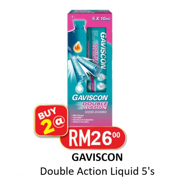 2 X Gaviscon Double Action Liquid 10ml 5's
