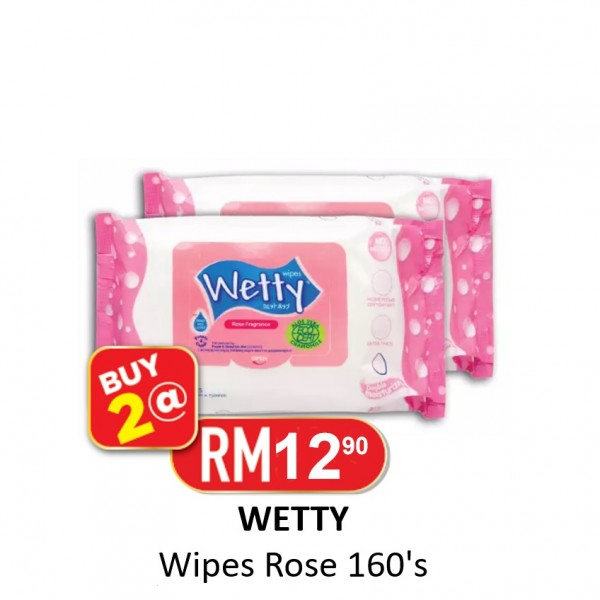 2 x Wetty Wipes Rose 160's